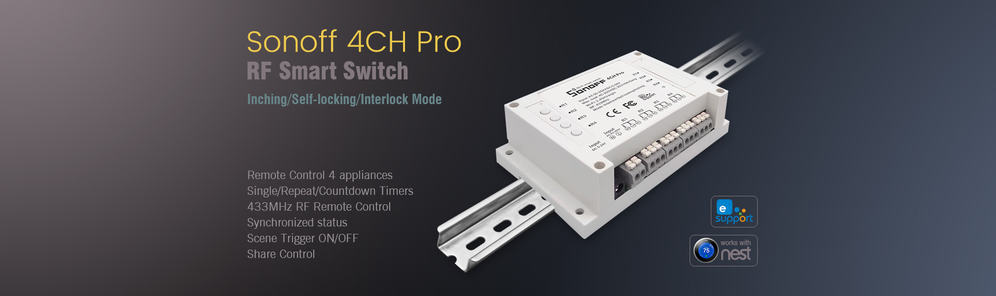 Sonoff 4Ch Pro WiFi/Internet Switch Linked to Alexa